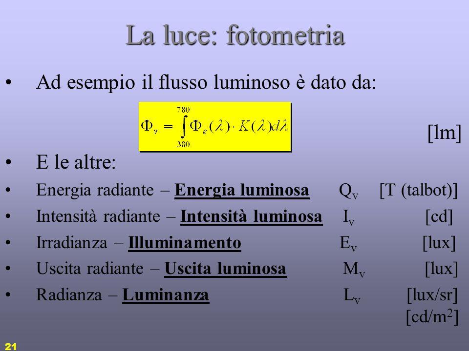 La luce: fotometria Ad esempio il flusso luminoso è dato da: [lm]